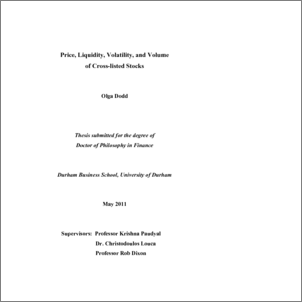 Phd thesis on stock market volatility